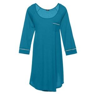 Long Sleeve Sleep Dress, Ardesia Blue & Ivory