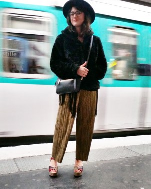 Call Me Katie - What I Wore In Paris - Zara Fedora Kate Spade Bag Topshop Gold Pleat Trousers ASOS wedge heels 2
