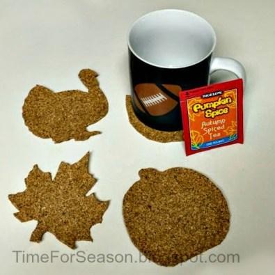 diy thanksgiving cork coasters