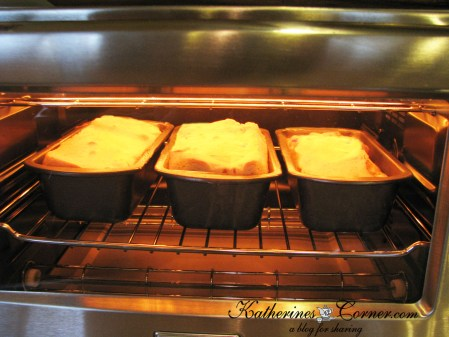 cranberry loaves in oven