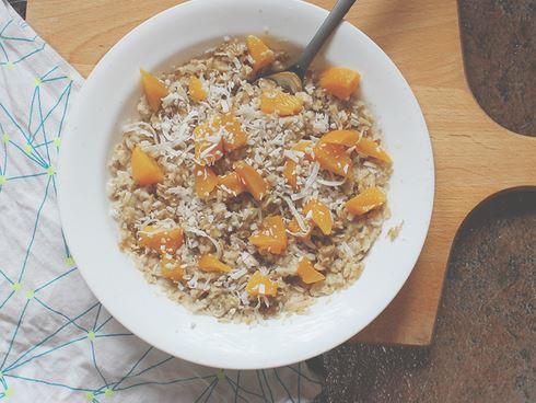 peaches and coconut milk oat,eal
