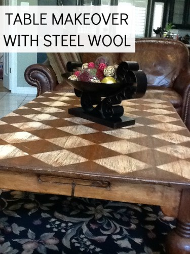 table makeover with steel wool