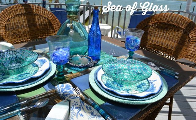 sea glass tablescape