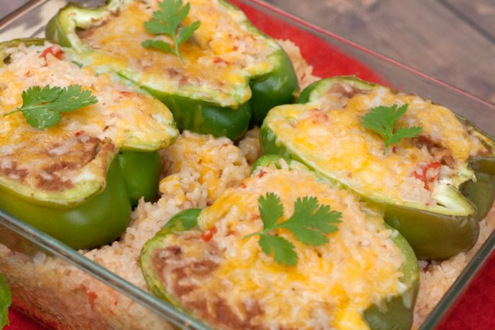 Mexican rice stuffed peppers