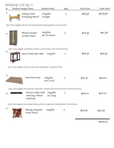 cozy den shopping list