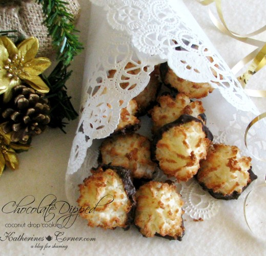 easy chocolate dipped coconut cookies katherines corner