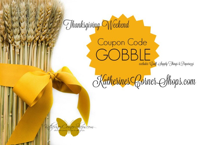 gobble coupon code for Katherines Corner shops