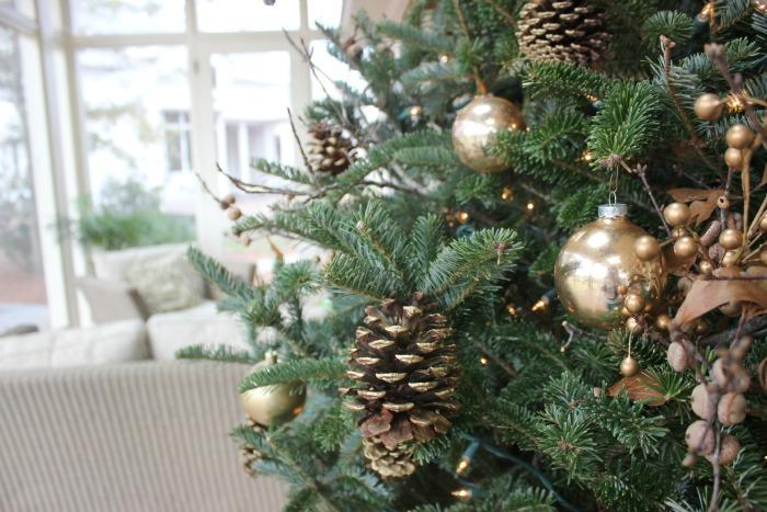Christmas Tree with pinecone picks
