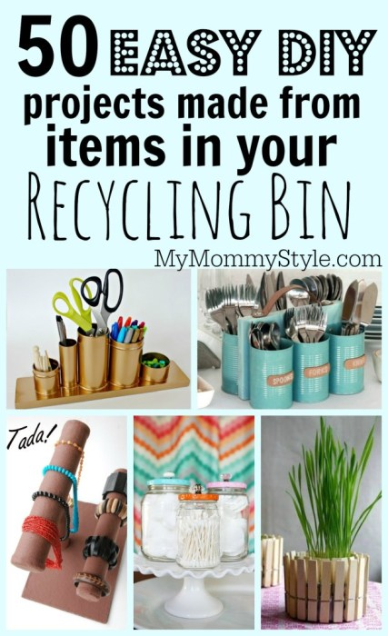 http://www.mymommystyle.com/2015/06/20/50-easy-diy-projects-made-from-items-in-your-recycling-bin/
