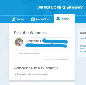 weekender giveaway winner