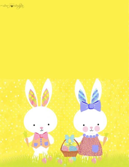 girl and boy bunny printable