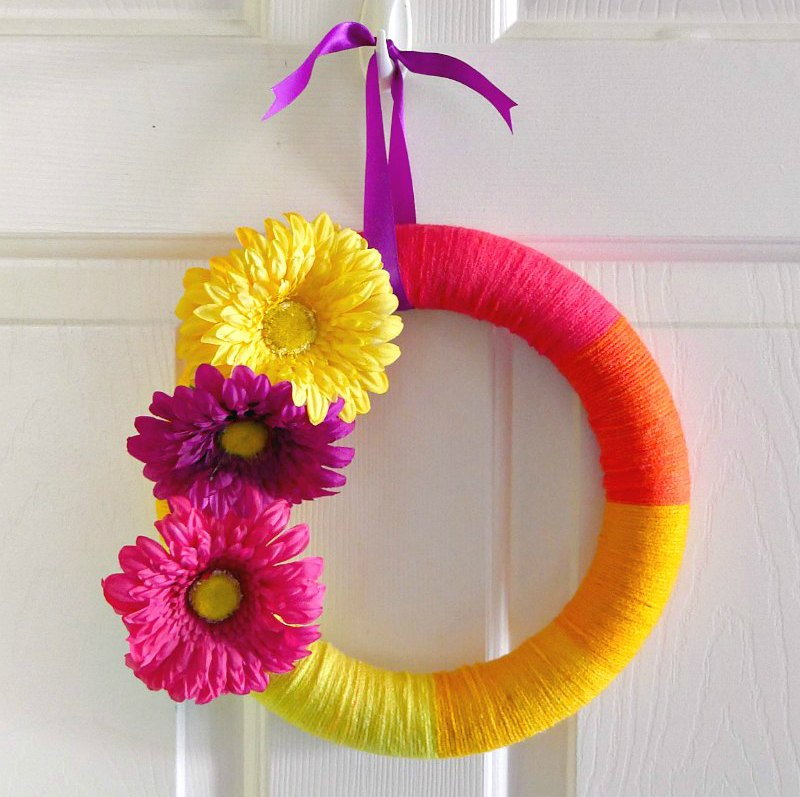 floral yarn wreath