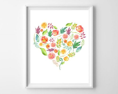floral heart free printable
