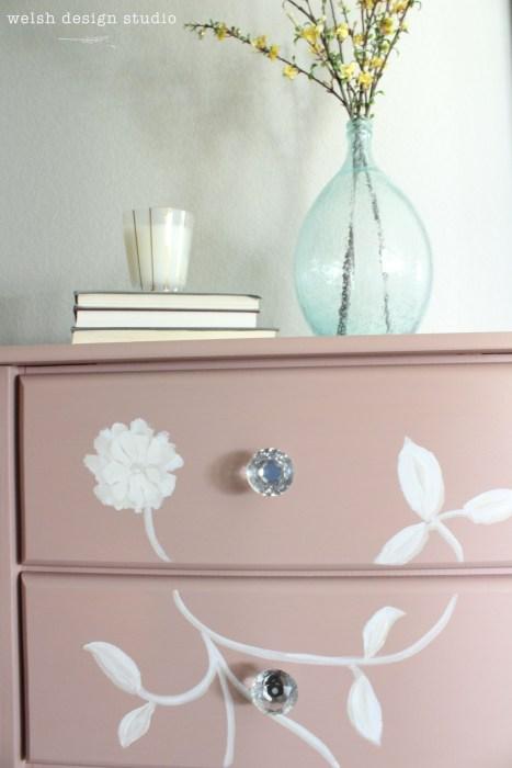 diy pink stencil dresser