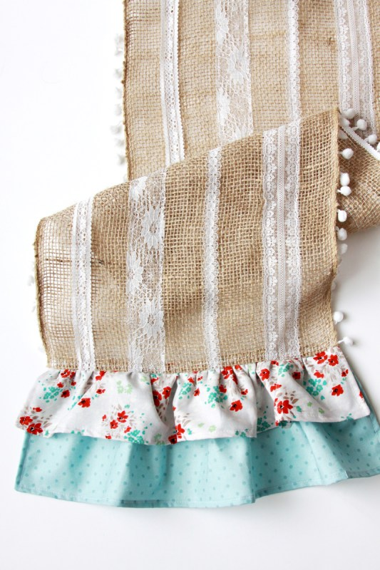 diy ruffled burlap runner