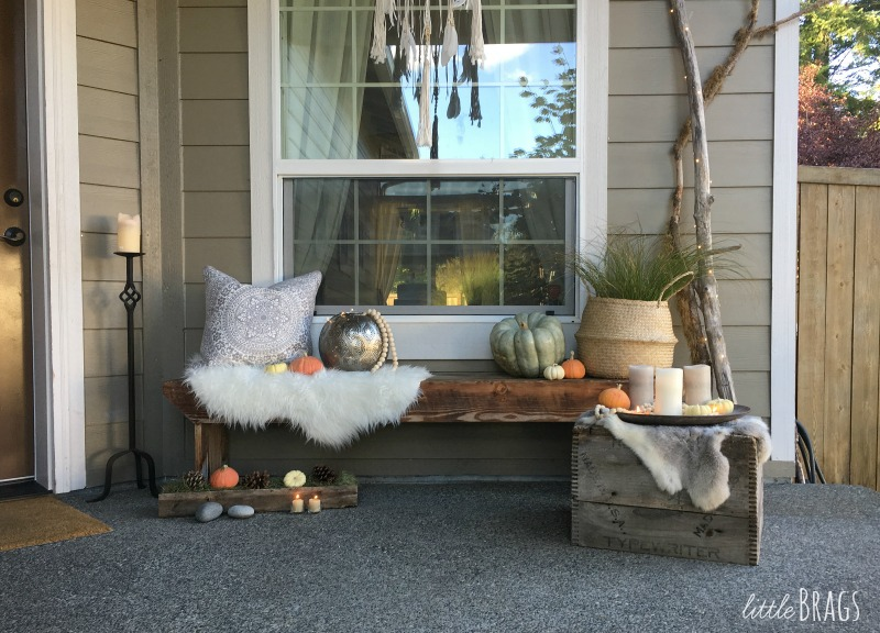 Boho chic autumn porch decor