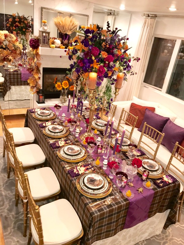 using purple in a thanksgiving tablescape