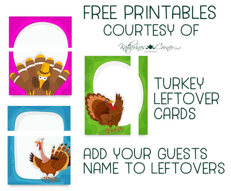 free printables turkey leftover name tags