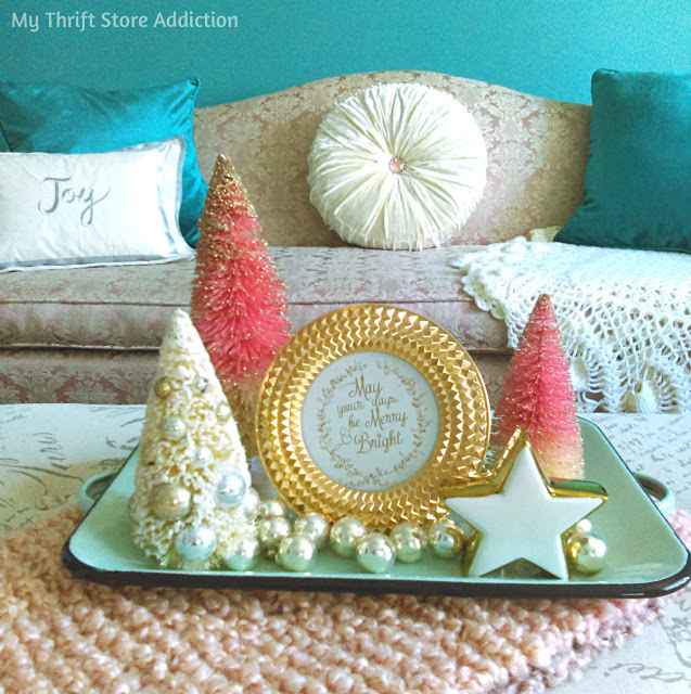 aqua and blush holiday decor