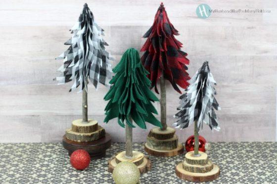 diy ribbon Christmas trees