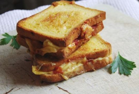 game day grub pizza grilled cheese