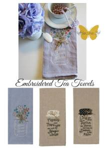 embroidered tea towels on sale