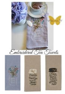 embroidered tea towels on sale