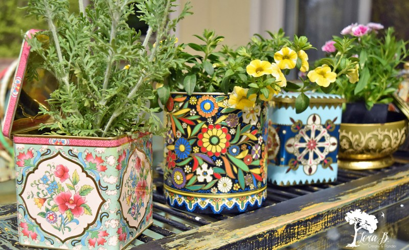 vintage tins for planters