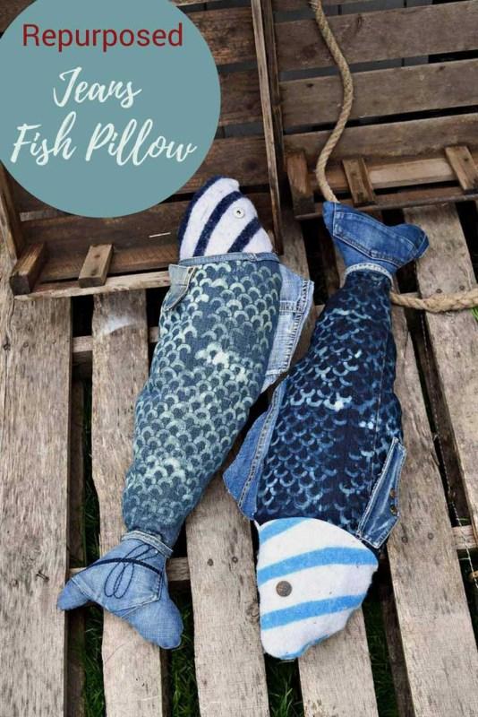 diy denim fish pillows