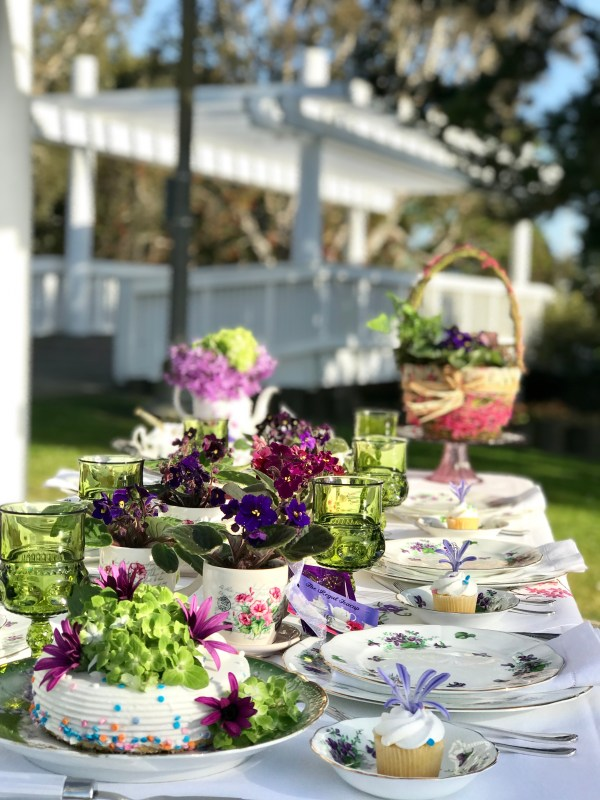 violets and vintage china tabescape