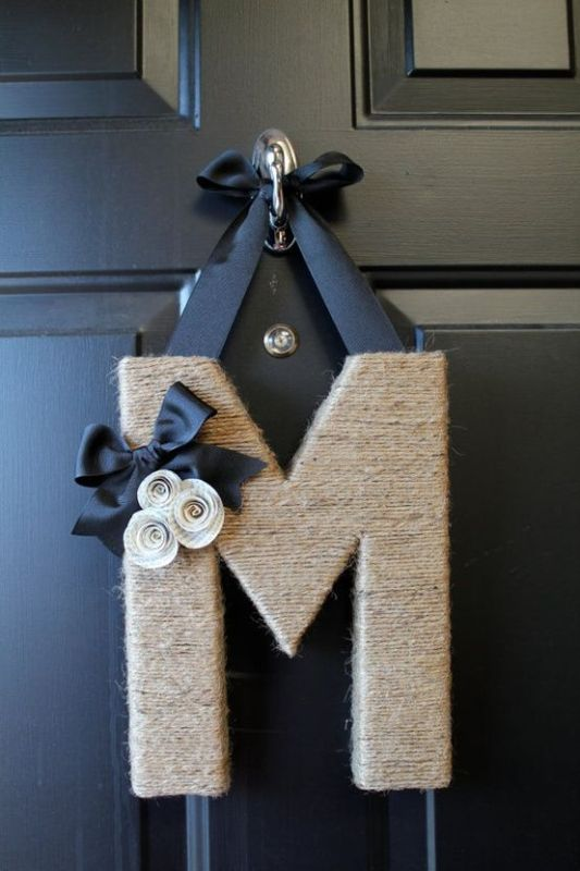 twine monogram door decor