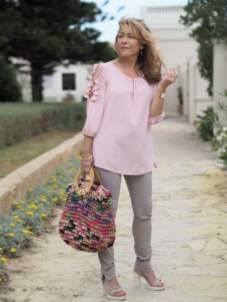 pink and tan outfit