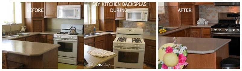 before during after DIY kitchen backsplash