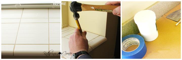 diy kitchen backsplash remove old tile from windowsill