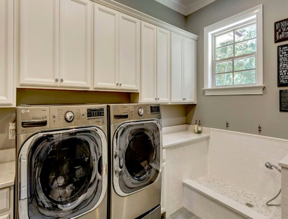 laundry room with pet washing area