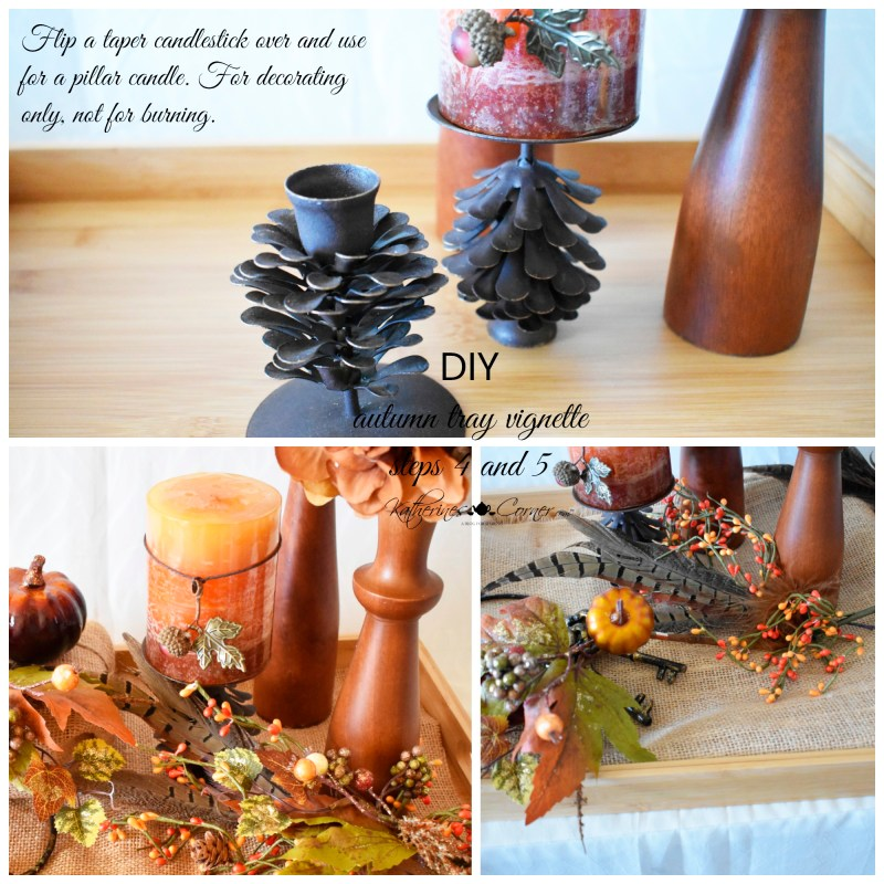 diy autumn tray vignette steps 4 and 5 new uses for old things