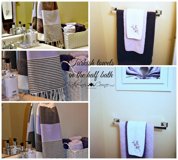 turkish towels in the half bath