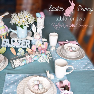 Easter bunny table for two