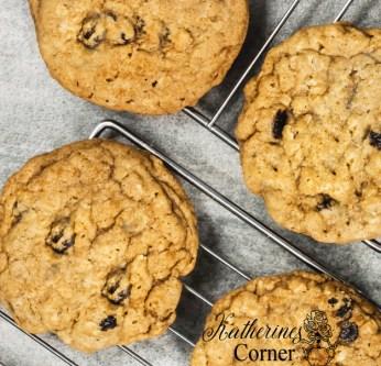 oatmeal raisin cookies cooling on rack katherines corner