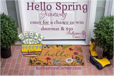 Hello spring doormat and cash giveaway