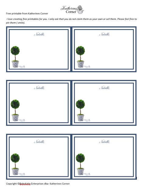 free printable chinoiserie topiary note cards