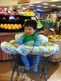 First time in the grocery cart!