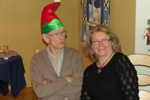 Me pretending I don't notice G-Pa's funny Christmas hat.