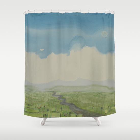 Curve of Earth Shower Curtain from Society6