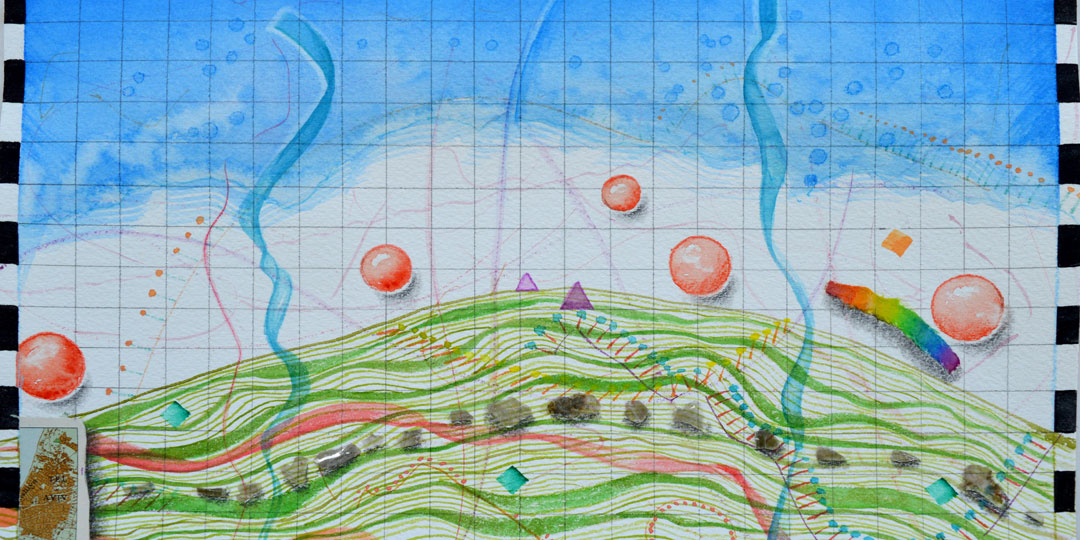 Mound Map, detail of watercolor, drawing, collage by Kathleen O'Brien