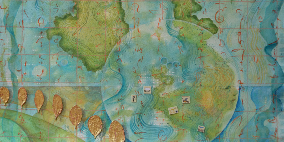 World of Islands, detail of watercolor, drawing collage by Kathleen O'Brien
