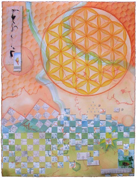 "Kathleen O'Brien, ""As Above, So Below"", collaged drawing"