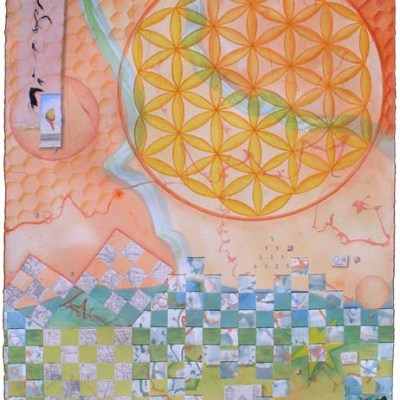 """Kathleen O'Brien, """"As Above, So Below"""", collaged drawing"""