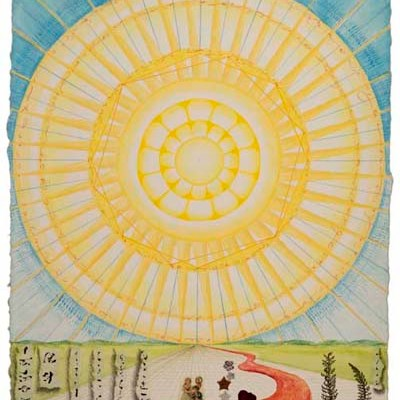 """Kathleen O'Brien, """"Here Comes the Sun"""", collaged drawing"""