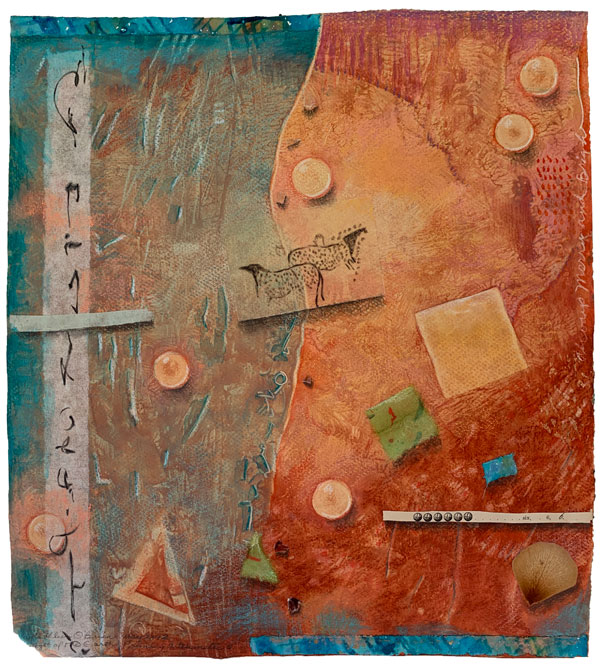 """""""Light of the Earth 6"""", collaged drawing on paste paper, ©Kathleen O'Brien 2012"""